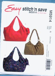 McCalls Sewing Hobo Bag Purse Pattern