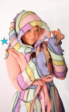 This is a colorful ebook to teach people how they can go about making their own Katwise style Elf Coat. This listing is for a DIGITAL FILE that will be Pullover Upcycling, Recycled Sweaters, Altered Couture, Sweater Making, Coat Patterns, Sweater Coats, Recycling, Recycle Crafts, Pulls