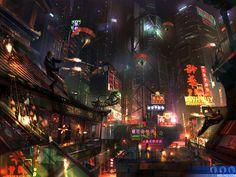 "Concept art for the Hong Kong levels of ""GoldenEye: Rogue Agent"""