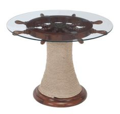 Modern Décor to be located throughout the rooms. Could be made into a Bar tables for the first room - Wood Glass Ship Wheel Decorative Nautical Table Nautical Furniture, Nautical Table, Nautical Home, Nautical Interior, Nautical Nursery, Lake Decor, Coastal Decor, Coastal Style, Coastal Living