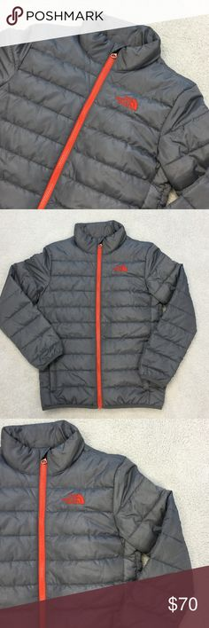 Boys Medium 10/12 The North Face Puffer Jacket Excellent like new condition. Boys size medium 10/12 The North Face puffer jacket. Gray and orange.  👠Unless otherwise stated NWT, all items are from my PERSONAL closet and GENTLY used. Please do not expect UC to look NWT. 👠  💋Please ask any questions you may have BEFORE purchase.💋  ❤️  Bundle together with other items for the cutest outfit, and best deal!! ❤️  ❗️PLEASE USE THE OFFER BUTTON TO SUBMIT OFFERS.❗️  🎀As always HAPPY POSHING. 🎀…