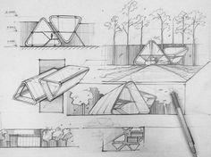 Concept-Sketch by _______________________________ . Sketchbook Architecture, Concept Models Architecture, Architecture Presentation Board, Architecture Panel, Architecture Design, Triangular Architecture, Bus Stop Design, Landscape Design Plans, Architectural Sketches
