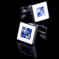 Blue Crystal Inlay Cufflinks
