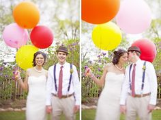 ballon wedding portraits on a colorado wedding blog. If I had to do it all over again, I would want balloons in my wedding, somewhere.