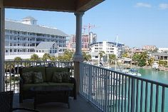 Clearwater Beach condo rental - Balcony overlooking Harbor and Pool