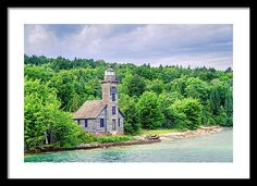 America Framed Print featuring the photograph Grand Island East Channel Light by Alexey Stiop Very Nice Images, Beautiful Images, Large Prints, Framed Prints, Lights Artist, Grand Island, Art Sites, Lake Superior, Fine Art America
