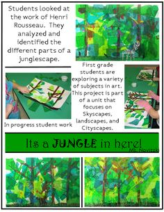 (Could totally integrate this project with an ecosystems unit) elementary art lesson idea project Henri Rousseau jungle landscape Henri Rousseau, Jungle Landscape, Landscape Art, 7 Arts, First Grade Art, Jungle Art, Artist Project, Ecole Art, Art Curriculum