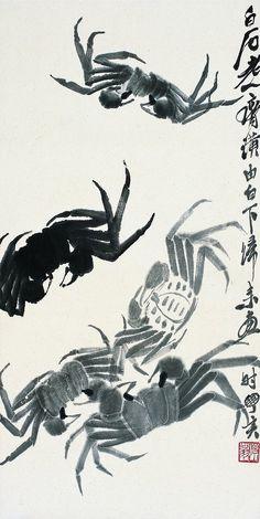 Crabs, ink painting by Qi Baishi - Japanese Painting, Chinese Painting, Japanese Art, Crab Painting, Sumi E Painting, Tinta China, Art Japonais, Korean Art, China Art