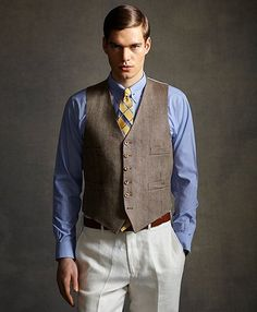 Every woman lives a sharp dressed man.....The Great Gatsby Collection Light Brown Linen Vest - Brooks Brothers