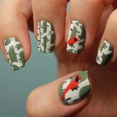 Cardinal Nails, birch tree nail art