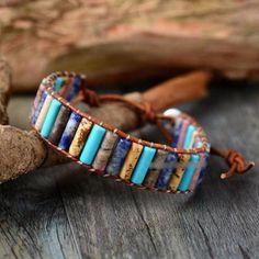 Tube Shaped Natural Turquoise Jasper & Agate Leather Wrap Bracelet - 2 Colours