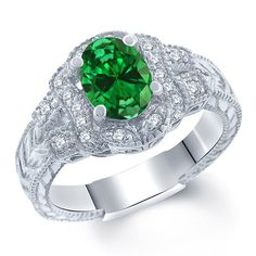 2.33 Ct Oval Green Simulated Emerald 925 Sterling Silver Ring in Jewelry & Watches, Fine Jewelry, Fine Rings | eBay