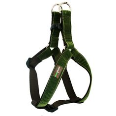 'Hunter' Velvet Dog Harness by Mimi Green. Soft. Does not go over my head. I am ok with clips this week!