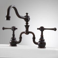 Vintage Bridge Kitchen Faucet with Lever Handles - Dark Oil Rubbed Bronze