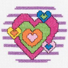 Bucilla My 1st Stitch Heart Mini Counted Cross Stitch Kit3in Round 14 Count