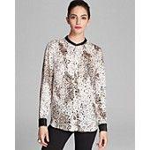 Faux leather trim blouse