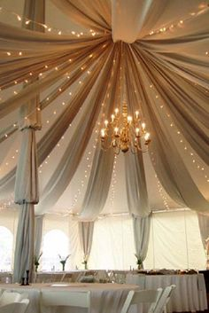 Fabric Swags in Tent with twinkle lights! Gorgeous wedding tent with fabric draping-if you have to use a tent, great idea! Wedding Events, Our Wedding, Dream Wedding, Tent Wedding, Wedding Seating, Wedding Burlap, Baby Wedding, Marquee Wedding, Gothic Wedding