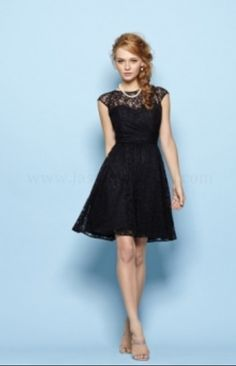 f2475c7b2db A-line Beautiful Black Cap Sleeves Lace Overlay Knee Length Bridesmaid  Dresses by JM Gowns 163023