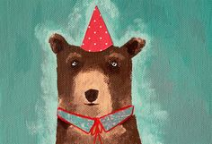 Arturo the party bear original painting by LaDouceurDuMiel on Etsy, €22.00