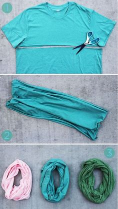 DIY Scarf - Lifestyle, Style Today's DIY scarf is a total no-brainer and it won't cost you a single cent. Gather up some old t-shirts, grab your scissors, and let's get to it! Sewing Hacks, Sewing Crafts, Sewing Projects, Sewing Diy, Upcycled Crafts, Fabric Crafts, Diy Crafts, Old Clothes, Sewing Clothes