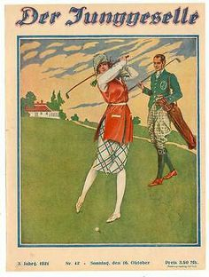 Der Junggeselle Vintage Golf, Golf Fashion, Berlin Germany, Ladies Golf, Baseball Cards, Sports, Painting, Magazine Covers, Gatsby