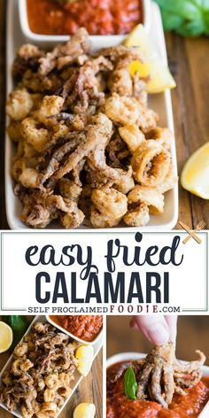 Fried Calamari is a crispy and delicious appetizer recipe that is surprisingly easy to make at home. Lightly coated and fried to golden brown perfection! Calamari Recipes, Squid Recipes, Fish Recipes, Seafood Recipes, Cooking Recipes, Italian Fried Calamari Recipe, Yummy Appetizers, Appetizer Recipes, Carne Asada