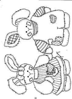 Girl & Boy Patchwork Bunnies/ Tattered Bunnies - Coloring Page/Line Art Drawing/B&W Image Easter Coloring Pages, Coloring Book Pages, Coloring Sheets, Cross Stitch Embroidery, Hand Embroidery, Embroidery Designs, Tole Painting Patterns, Applique Patterns, Digi Stamps