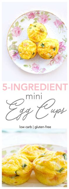These healthy mini egg cups contain only five ingredients and are the perfect way to sneak some extra protein into your day! Great for any meal or snack! | Low carb & gluten-free | Haute & Healthy Living