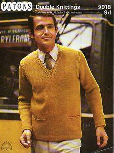 vintage mens DK sweater knitting pattern pdf mans v neck