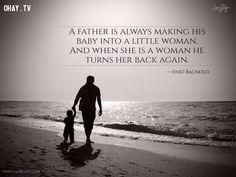 8. Người cha luôn khiến con gái nhỏ bé của mình trở thành một người phụ nữ nhỏ. Và khi cô đã là một người phụ nữ, ông lại muốn biến cô trở lại như xưa. - Enid Bagnold