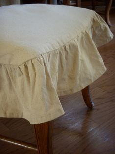 drop cloth into chair cover...diy
