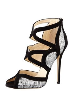 Jimmy Choo Sequin pump Silver & Black #sparkle