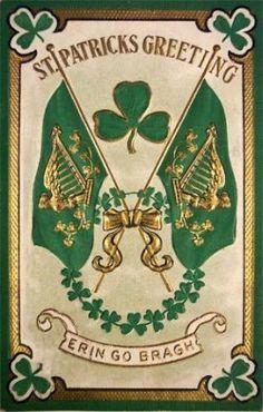 Irish Flag with Gold Harp on Green