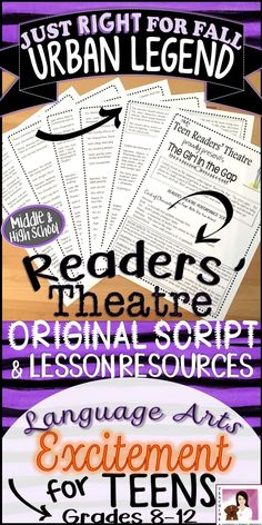 "Featuring foreshadowing lesson: Your students will absolutely love these lessons! Based on the famous Japanese urban legend ""The Girl in the Gap,"" this script is written specifically for teen enjoyment and English Language Arts CCSS. The product includes lots of tips and tricks for bringing readers' theatre to life in a middle or high school classroom."