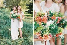 bridesmaids bouquets - Lord Hill Farms in Washington - photos by Bryce Covey