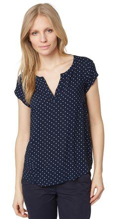 luftige Bluse mit Punkten für Frauen (gepunktet, kurzärmlig mit Rundhals-Ausschnitt und V-Öffnung) - TOM TAILOR