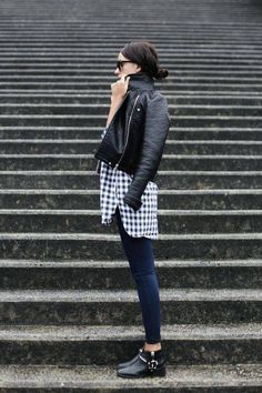 Gingham shirt cropped denim. Black leather moto jacket for perfect everyday city style. Work outfit idea. Classic style