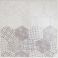 Cevica chintz hexagon tile - Marrakech Mosaic Gris and Marrakech Mosaic Negro.