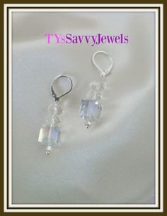 Swarovski Crystal Square Dangle Drop Earrings by TYsSavvyJewels