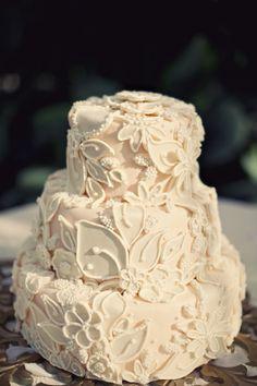Alixann Loosle Photography of Jessica & Bryan's wedding, beautiful white on white cake.