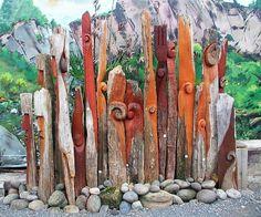 New Zealand native timber chainsaw carved garden art by Michael Walsh, Kakahi Ne. Sculpture Art, Garden Sculpture, Chainsaw, Art Blog, Garden Art, New Zealand, Nativity, Design Art, Carving