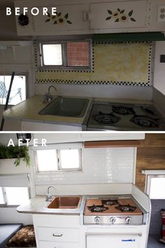 Ideas Vintage Travel Trailer Remodel Old Campers Rv Interior For 2019 Vintage Camper Interior, Trailer Interior, Rv Interior, Interior Ideas, Caravan Interior Makeover, Old Campers, Retro Campers, Do It Yourself Camper, Camper Kitchen