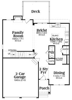 Floor Plans AFLFPW01838 - 2 Story Craftsman Home with 4 Bedrooms, 2 Bathrooms and 2,228 total Square Feet