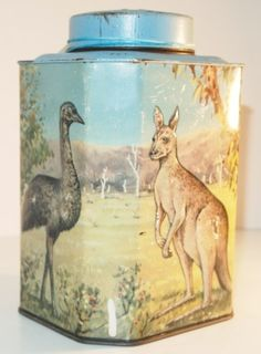 Bushells [Australian tea brand] tea tin .. decorated with images of kangaroos and ostrich, c.1950, Australia