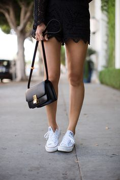 Black Lace Romper and Chuck Taylors | spring summer. Song of style