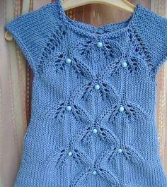 Mavi örgü kız çocuk elbise