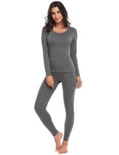 7475d9f49e Womens Thermal 2 Pcs Underwear Set Soft Top and Bottom Pajama S-XXXL -  Midweight-grey - CY186U2DYKW