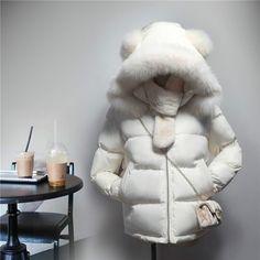 2017 winter cotton dress women short paragraph Korean version of the hooded winter white thick hair collar plush ear cotton #Affiliate
