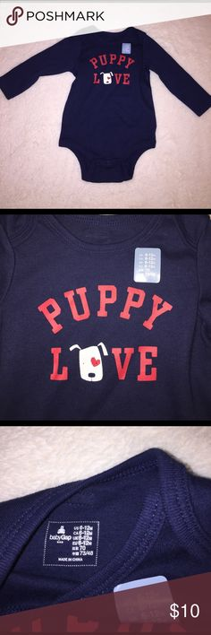 Baby GAP Puppy Love Adorable Onsie - Long Sleeve So stinking CUTE!  6-12 Months baby Gap Puppy Love Onsie.  Brand New and ready for your little love!  Navy blue.  Would work for boy or girl!  Hang tag is missing, but front sticker tag is still on.  📢Bundle with other items from my closet to Get a DISCOUNT📢 GAP One Pieces Bodysuits