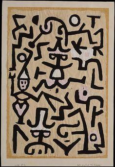 Octavilla Comedians ' Paul Klee (alemán (nacido en Suiza), Münchenbuchsee 1879-1940 Muralto-Locarno) Fecha: 1938 Medio: Gouache sobre papel prensa Dimensiones: H. 19-1/8, 12-5/8 pulgadas W. (48,6 x 12-5/8 cm.) Clasificación: Dibujos Línea de crédito: La Colección Berggruen Klee, 1984